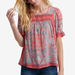 Lucky Brand Women's Square Neck Smocked Top Sz XLG